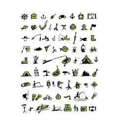 Fishing icons sketch for your design vector