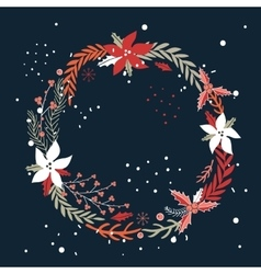 Christmas new year holiday wreath hand drawn vector