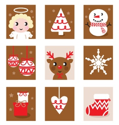 Christmas characters icons vector