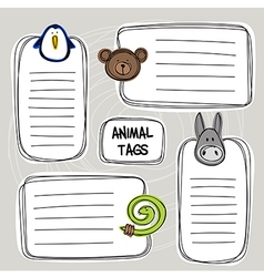 Set of hand drawn funny doodle tags with animals vector