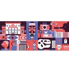 Museum abstract flat vector image