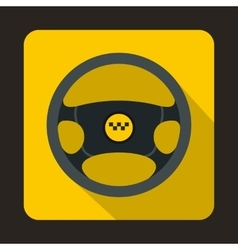Steering wheel of taxi icon flat style vector
