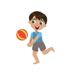 Boy Playing With The Ball vector image vector image