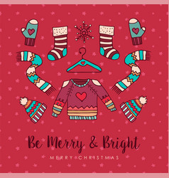 christmas winter fashion holiday cartoon card vector image
