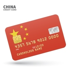 Credit card with china flag background for bank vector