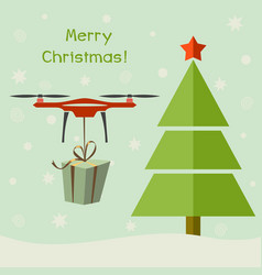 Drone delivering christmas gifts under christmas vector