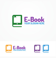 e-book logo set isolated on white background vector image vector image