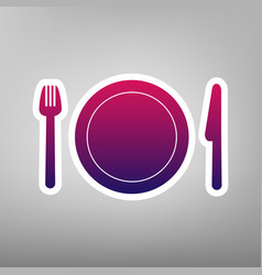 Fork plate and knife purple gradient vector