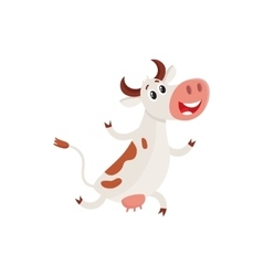 Funny brown and white spotted cow running on hind vector