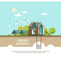 Green energy Eco friendly house vector image