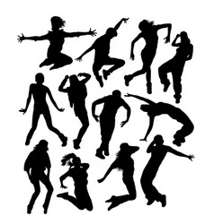 happy hip hop dancer activity silhouettes vector image vector image