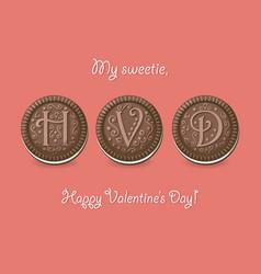 Happy valentine day chocolate cookies vector