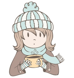 Hot cocoa girl vector