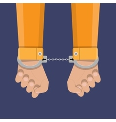 human hands in handcuffs vector image vector image