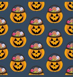 jack-o-lantern pumpkin halloween pattern vector image vector image