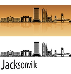 Jacksonville skyline in orange vector image