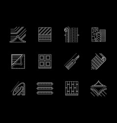 Linoleum floor flat white line icons set vector