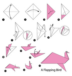 Make origami a flapping bird vector