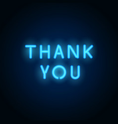 Neon thank you realistic neon letters vector