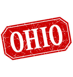 Ohio red square grunge retro style sign vector