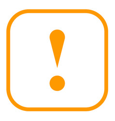 Orange square exclamation mark icon warning sign vector