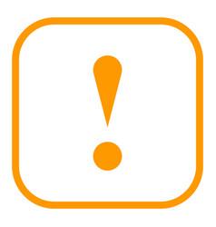 orange square exclamation mark icon warning sign vector image