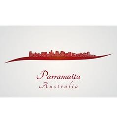 Parramatta skyline in red vector image