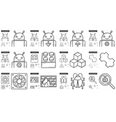 Programming line icon set vector