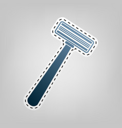 Safety razor sign blue icon with outline vector