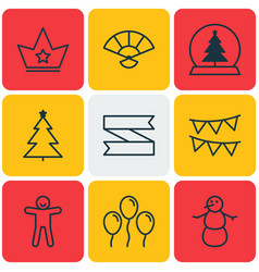 Set of 9 happy new year icons includes winter vector