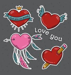 set of hearts love you symbols vector image
