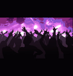 Silhouettes of dancing people in club vector