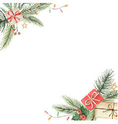 watercolor christmas decorative card with vector image