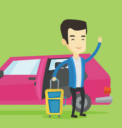 Young asian man traveling by car vector
