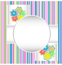 Cute happy birthday card with flowers vector
