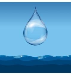 Realistic transparent water drop vector
