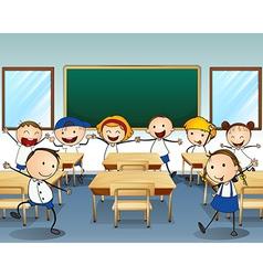 Children dancing inside the classroom vector