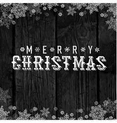 Wooden black christmas background with snowflakes vector image