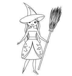 Coloring page for children cute witch holding vector