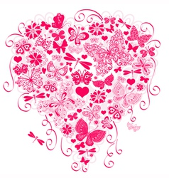 Valentine greeting pink card vector