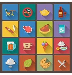 Food and alcohol drink icons in flat design style vector