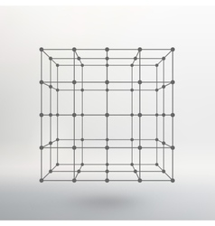 Cube of lines and dots cube of the lines vector