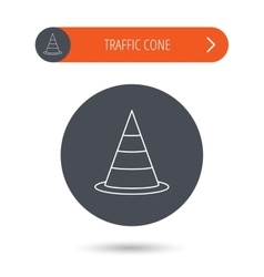 Traffic cone icon road warning sign vector