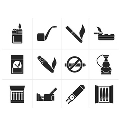 Silhouette smoking and cigarette icons vector