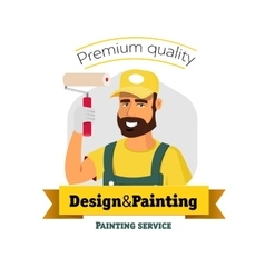 Smiling painter is holding brush painting service vector