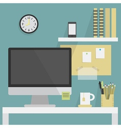Office interior with desk vector