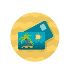 Card with palm flat icon vector