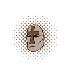 Crusader knight helmet comics icon vector