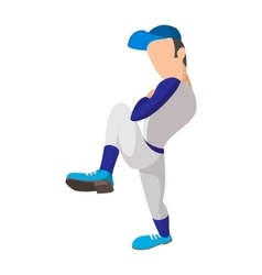 Baseball pitcher cartoon icon vector