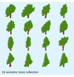 Trees flat isometric icons collection vector